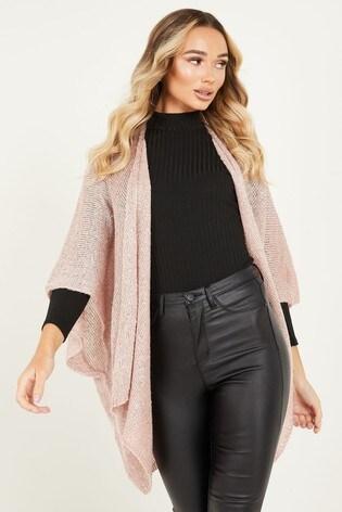 Quiz Pink Sequin Knit Cape