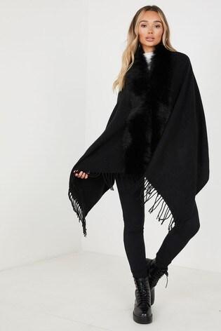 Quiz Black Faux Fur Collar Cape