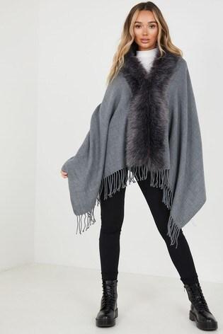 Quiz Grey Faux Fur Collar Cape