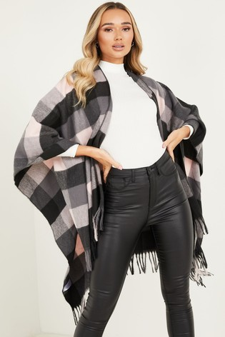 Quiz Black and Pink Check Cape