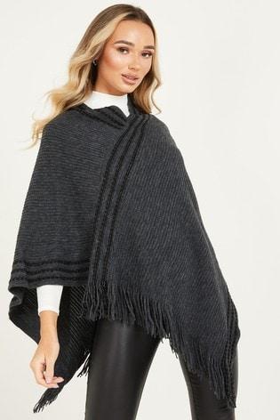 Quiz Dark Grey Knit Poncho