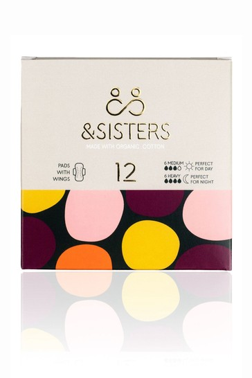 &Sisters   Plastic-free Pads with Wings   Organic   Bio-wrapped   Duo 6 Day 6 Night