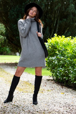 Pour Moi Grey Roll Neck Chunky Knit Dress