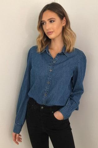 Lipsy Blue Denim Puff Sleeve Shirt