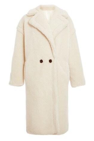 Quiz Cream Teddy Button Front Coat