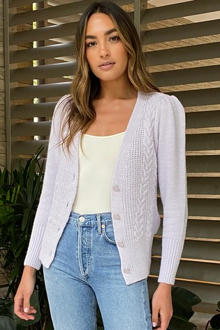 Lipsy Purple Button Through Knitted Cardigan