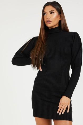 Quiz Black Knit Jumper Dress