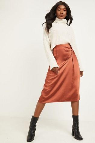 Quiz Orange Satin High Waist Wrap Midi Skirt