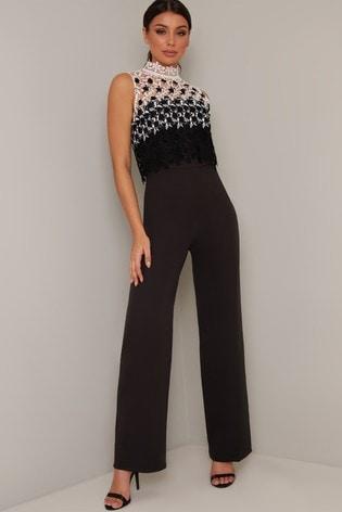 Chi Chi London Black Lubella Lace Overlay Jumpsuit