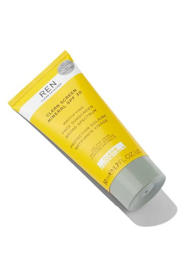 REN Clean Screen Mineral SPF 30 Mattifying Face Sunscreen Broad Spectrum Row