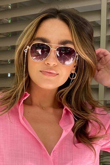 Lipsy Brown Aviator Sunglasses