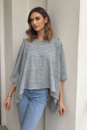 Lipsy Grey Button Front Poncho