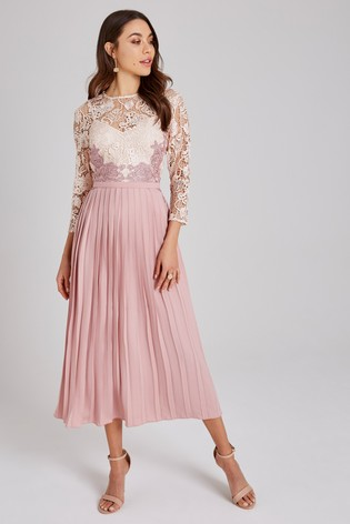 competitive price sale retailer great deals 2017 Buy Little Mistress Crochet Lace Pleated Skirt Midi Dress from ...
