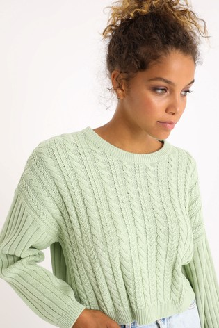 Pimkie Green Cable Knit Jumper