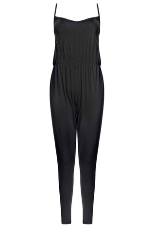 Boohoo Black Strappy Jersey Jumpsuit