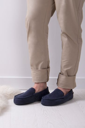 Totes Navy Isotoner Airtex Suedette Moccasin