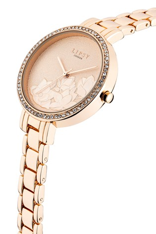 Lipsy Rose Gold Embossed Floral Watch