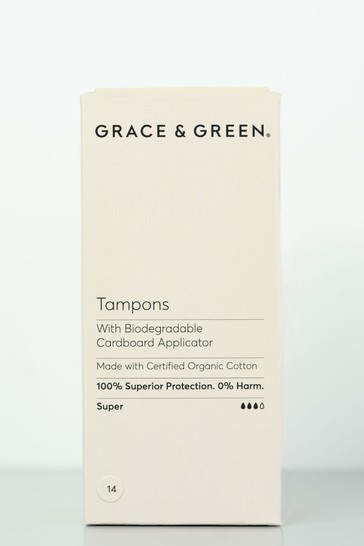 Grace & Green Organic Organic Tampons with a Biodegradable Applicator Super