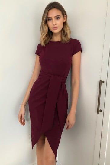Lipsy Purple Belted Bodycon Dress