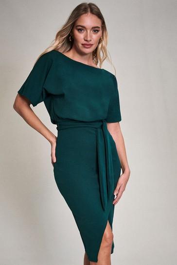 Lipsy Green Kimono Tie Waist Dress