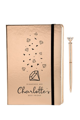 Personalised Diamonds Metallic Notebook By Ice London