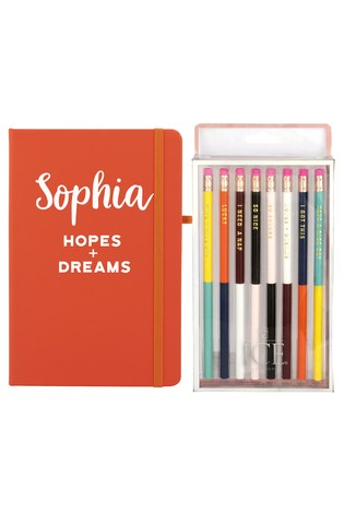 Personalised Hopes & Dreams Notebook with Set Of 8 Pens By Ice London