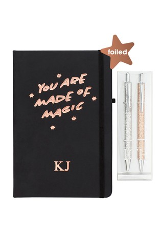 Personalised Foiled Notebook With Set Of 2 Glitter Pens By Ice London