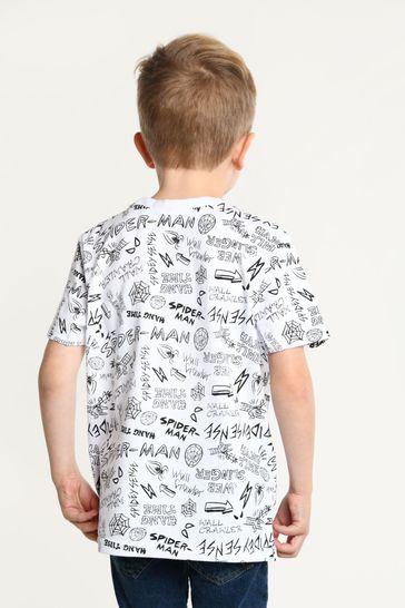 Brand Threads White Marvel - Spiderman Boys T-Shirt