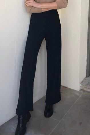 Lipsy Black Rib Wide Leg Trousers