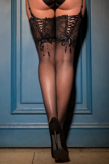 Pour Moi Black All Tied Up Lace Up 15 Denier Stocking