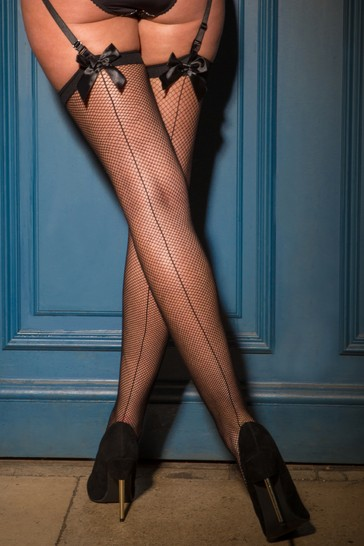 Pour Moi Black All Wrapped Up Bow Fishnet Back Seam Stocking