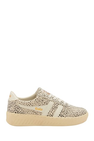 Gola White Ladies' Grandslam Cheetah Textile Lace-Up Trainers
