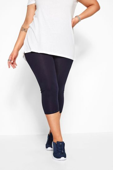 Yours Navy Curve Cotton Essential Cropped Leggings