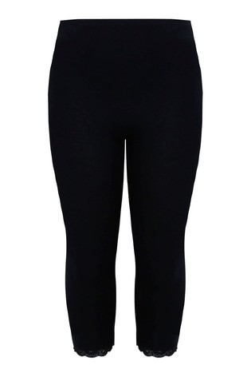 Yours Black Curve Cotton Essential Crop Legging With Lace Trim