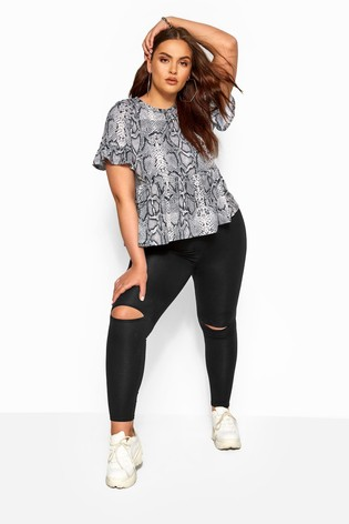 Yours Black Curve Ripped Knee Leggings