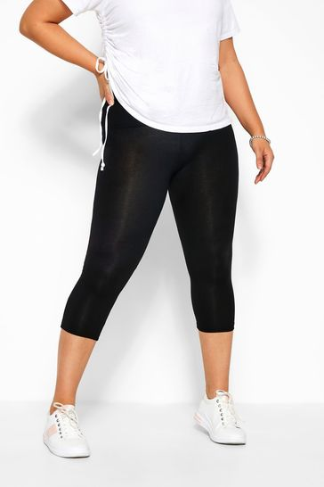 Yours Black Curve Tummy Control Soft Touch Cropped Leggings