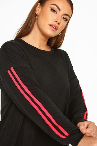 Yours Limited Black Collection Curve Side Stripe Sweatshirt