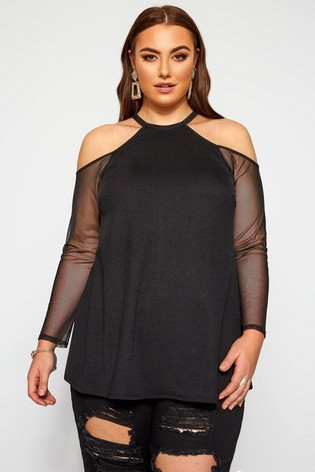 Yours Limited Collection Curve Crepe Cold Shoulder Mesh Sleeve Top