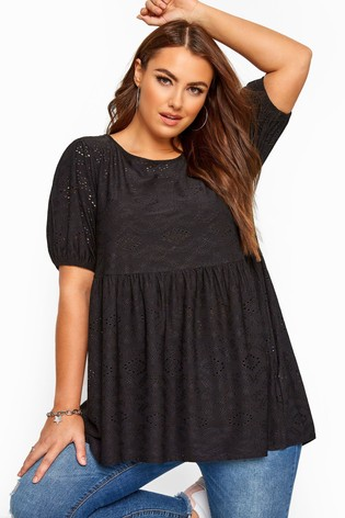 Yours Black Curve Embroidered Puff Sleeve Smock Top