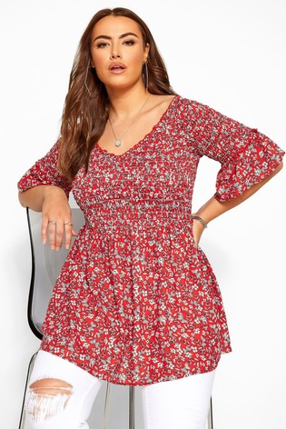 Yours Curve Ditsy Floral Shirred Bardot Top