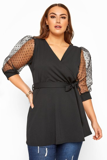 Yours London Curve Dobby Organza Sleeve Wrap Top