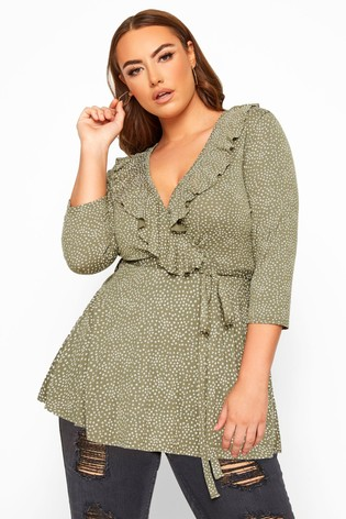 Yours Limited Collection Curve Ditsy Daisy Print Wrap Top