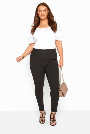 Yours Black Curve Stretch Slim Fit Trousers With Elasticated Waistband