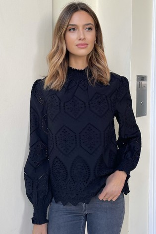 Lipsy Black Broderie Shirred High Neck Top