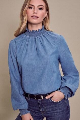 Lipsy Blue Lightweight Denim Shirred High Neck Top