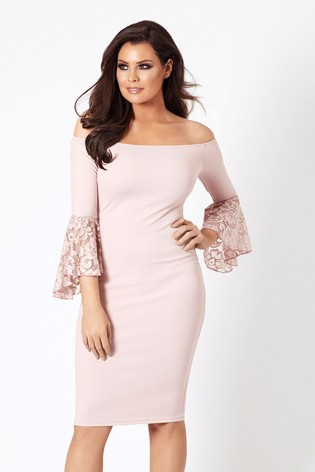 Sistaglam Loves Jessica  Off The Shoulder Midi Bodycon Dress With Lace Sleeve
