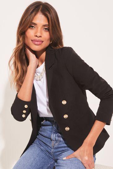Lipsy Black Military Tailored Button Blazer
