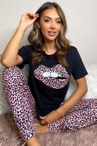 Lipsy Leopard Lips Regular Short Sleeve PJ Set