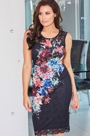 Sistaglam Loves Jessica Floral Print Midi Dress
