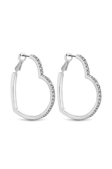 Lipsy Jewellery Silver Crystal Heart Hoop Earrings